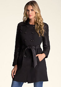 bebe Braided Detail Trench Coat