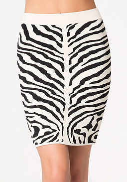 Zebra Jacquard Skirt at bebe