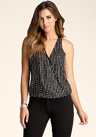 bebe Beaded Sequin Top