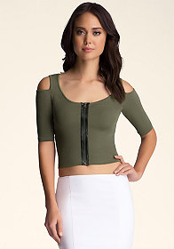 Cold Shoulder Sweater Crop at bebe