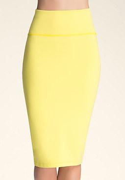 bebe Petite Solid Midi Skirt