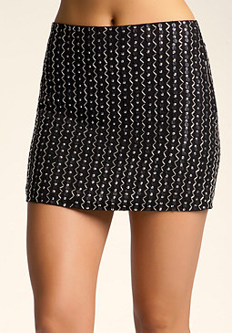 bebe Beaded Sequin Skirt