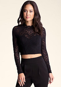 bebe Lace Mock Neck Crop Top