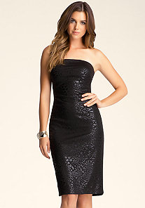 Strapless Foil Dress at bebe