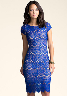 bebe Open Back Lace Midi Dress