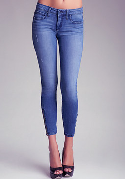 bebe Ankle Zip Icon Skinny Jeans