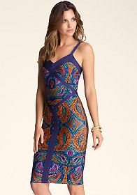 bebe Print Colorblock Midi Dress