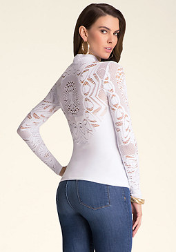 bebe Mock Neck Lace Detail Top