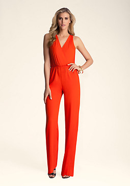 bebe Solid Open Back Jumpsuit