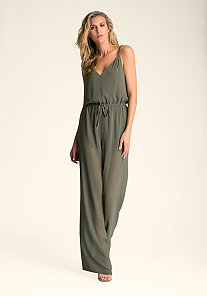 WIDE LEG SHEER JUMPSUIT at bebe