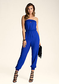 bebe Strapless Smocked Jumpsuit