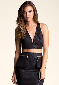 bebe Deep V Scuba Crop Top