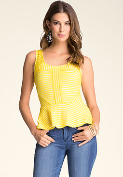 Textured Stripe Peplum Top at bebe