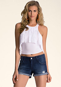 Cropped Fringe Tank at bebe