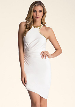 DRAPED RACERBACK DRESS at bebe