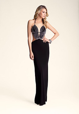bebe Fringe Tie Neck Maxi Dress