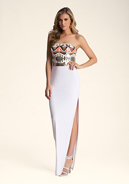 bebe Embellished Bustier Dress