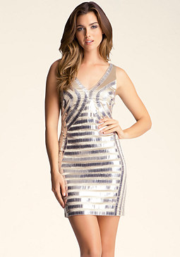 bebe Double V Embellished Dress