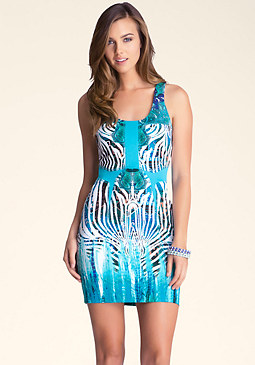 bebe Printed Cutout Dress