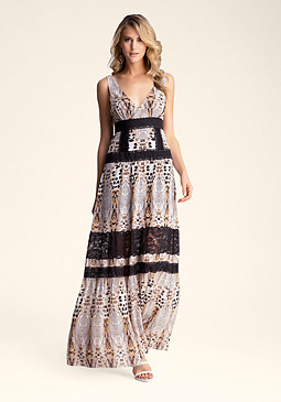 Mixed Print Maxi Dress at bebe