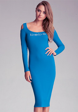 bebe Midi Cold Shoulder Dress