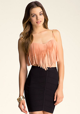 bebe Fringed Bra Top