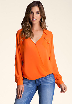 bebe Slit Sleeve Surplice Top
