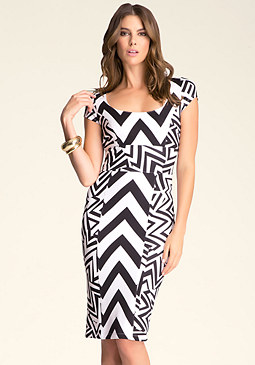 bebe Tribal Print Midi Dress