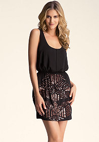 bebe Embellished Pleated Dress