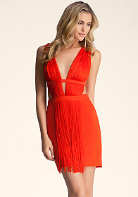 bebe Fringe Cutout Mini Dress