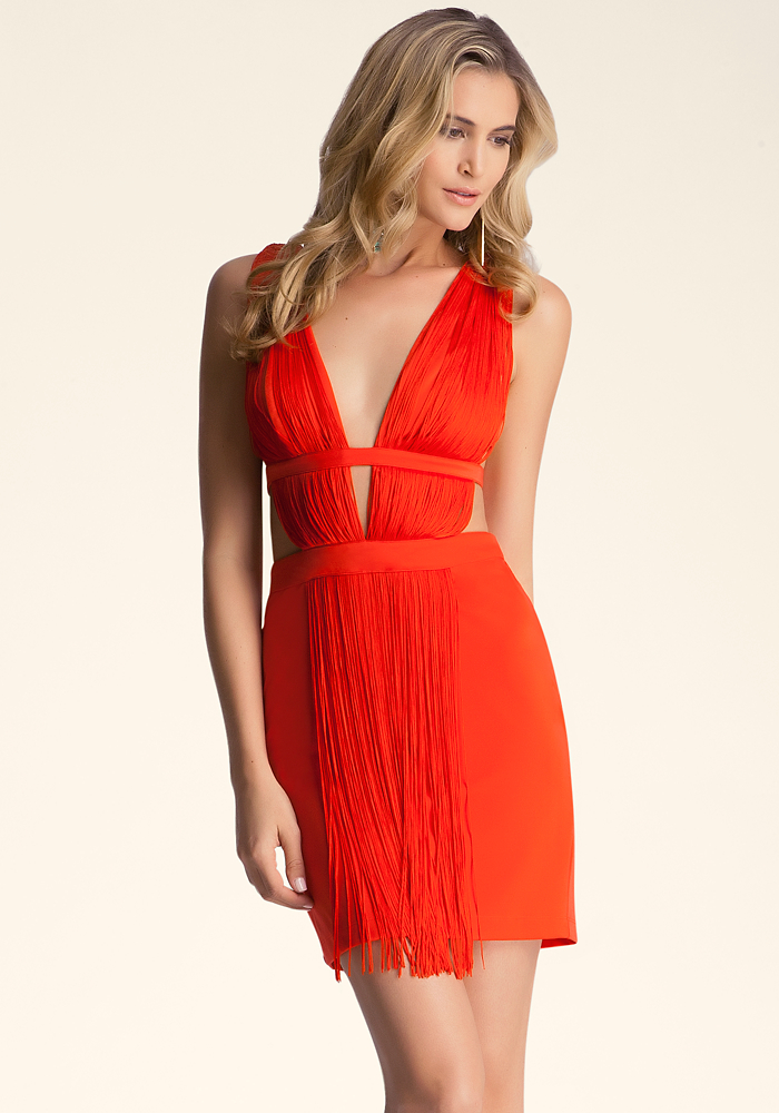 Fringe Cutout Mini Dress
