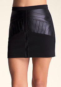 bebe Mixed Fabric Mini Skirt