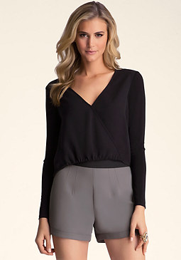 bebe Twist Front Crepe Top