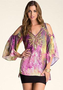 bebe Cold Shoulder Kimono Tunic