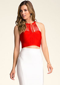 bebe Halter Neck Fringe Top