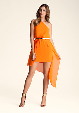 One Shoulder Overlay Dress at bebe
