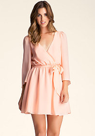 bebe Silk Belle Sleeve Dress