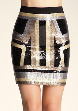 bebe All Over Sequin Mini Skirt