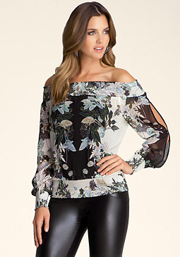 bebe Smock Shoulder Top���
