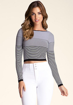 bebe Stripe Long Sleeve Crop Top