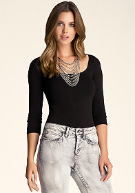 bebe 3/4 Sleeve Slash Back Top
