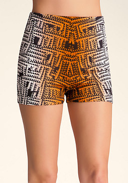 bebe Printed High Waist Shorts