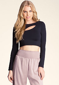 bebe Slit Front Mock Neck Crop