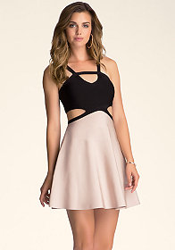 bebe Circle Skirt Cutout Dress