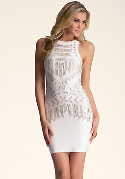 bebe Tribal Embellished Dress