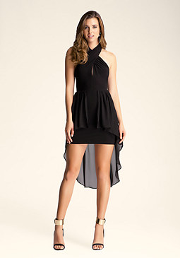 bebe Crossover Hi Low Dress