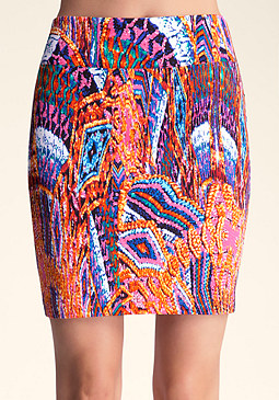 bebe Printed Wide Waist Skirt