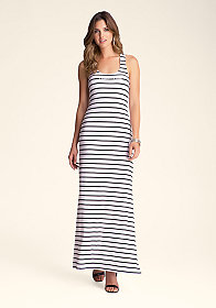 bebe Stripe Tank Logo Dress