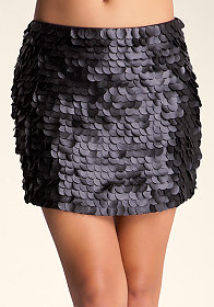 Faux Leather Sequin Skirt at bebe