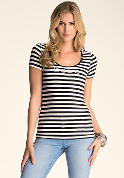 bebe Slash Twist Scoop Neck Top